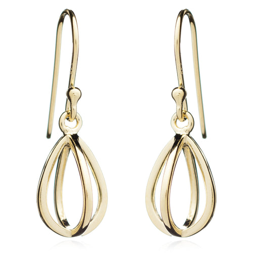 Yellow Gold Tear Drop Geometric Earring