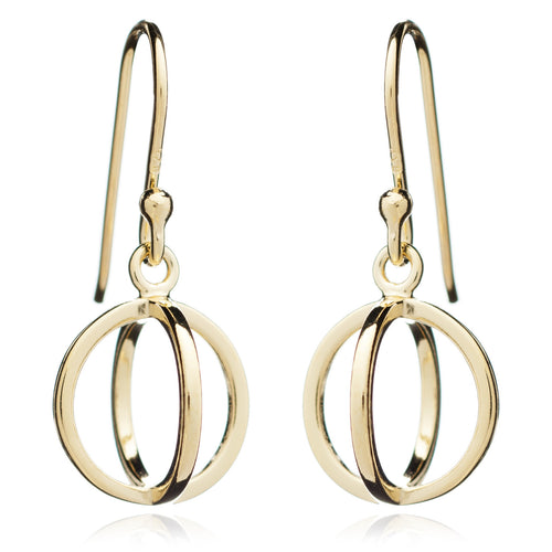 Yellow Gold Circle Geometric Earrings