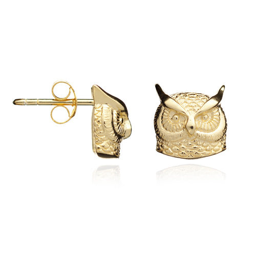 Gold Long-earred Owl Stud Earrings