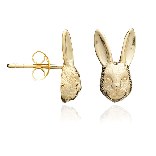 Gold Hare Stud Earrings