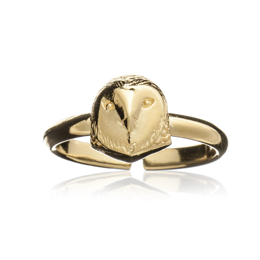 Gold Barn Owl Ring