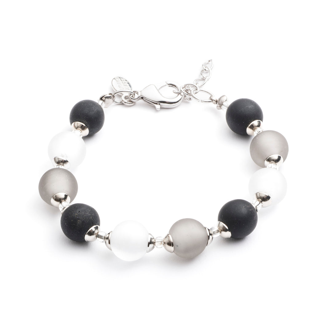 Frosted Grey Murano Glass Bracelet