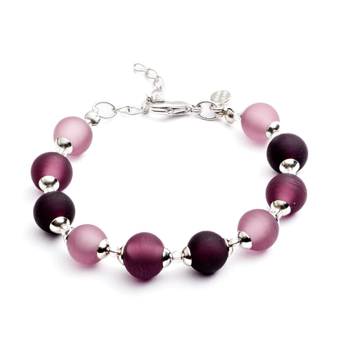 Frosted Purple Murano Bead Bracelet