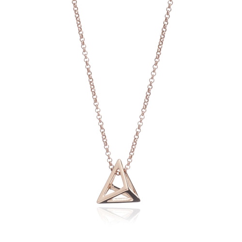 Rose Gold Triangle Geometric Pendant