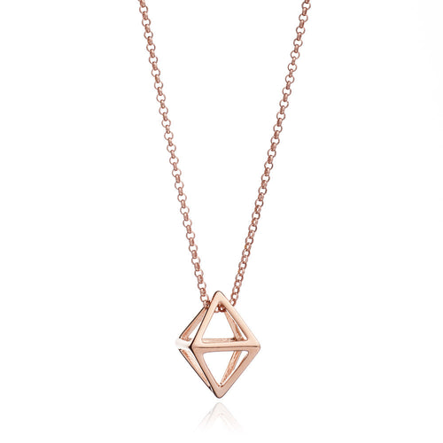Rose Gold Geometric Square Pendant