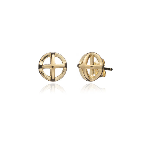 Yellow Gold Circle Geometric Studs