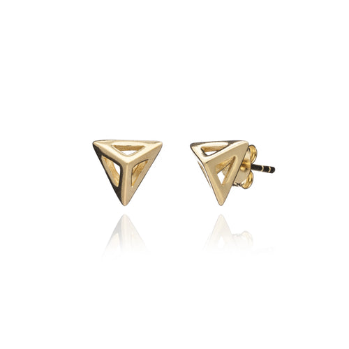Yellow Gold Triangle Geometric Studs