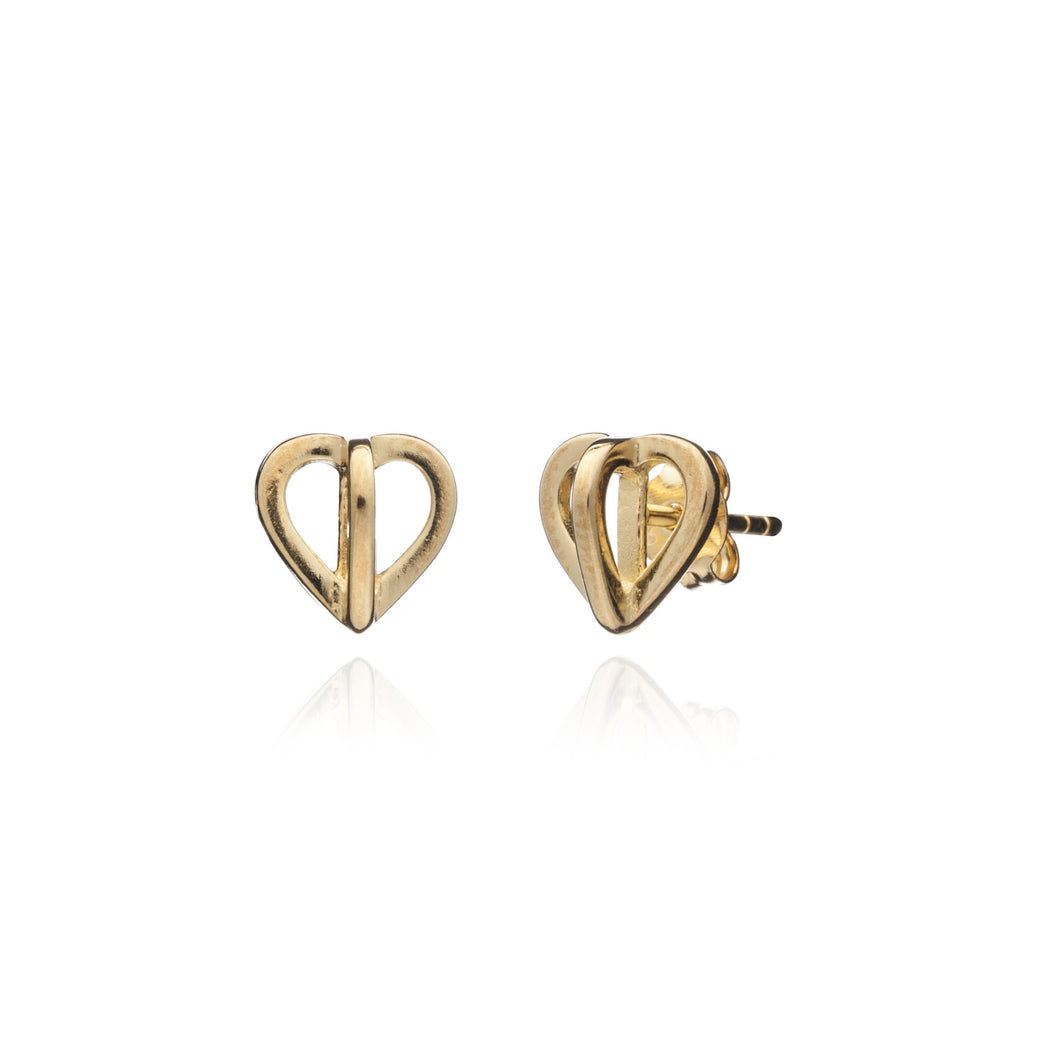 Yellow Gold Heart Geometric Studs