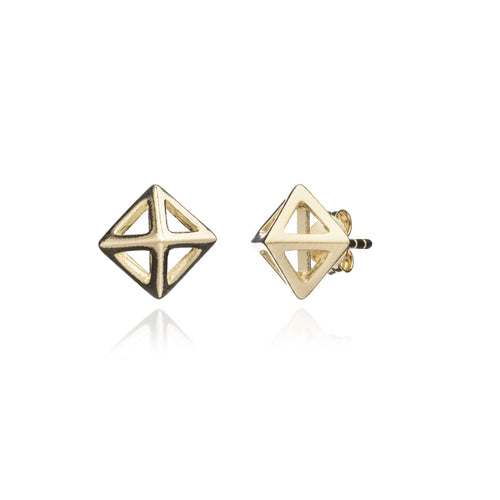 Gold Square Geometric Studs
