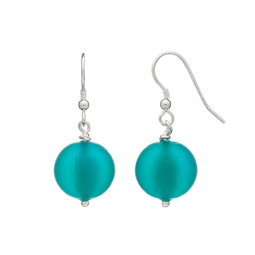 Frosted Murano Earrings Emerald Green.