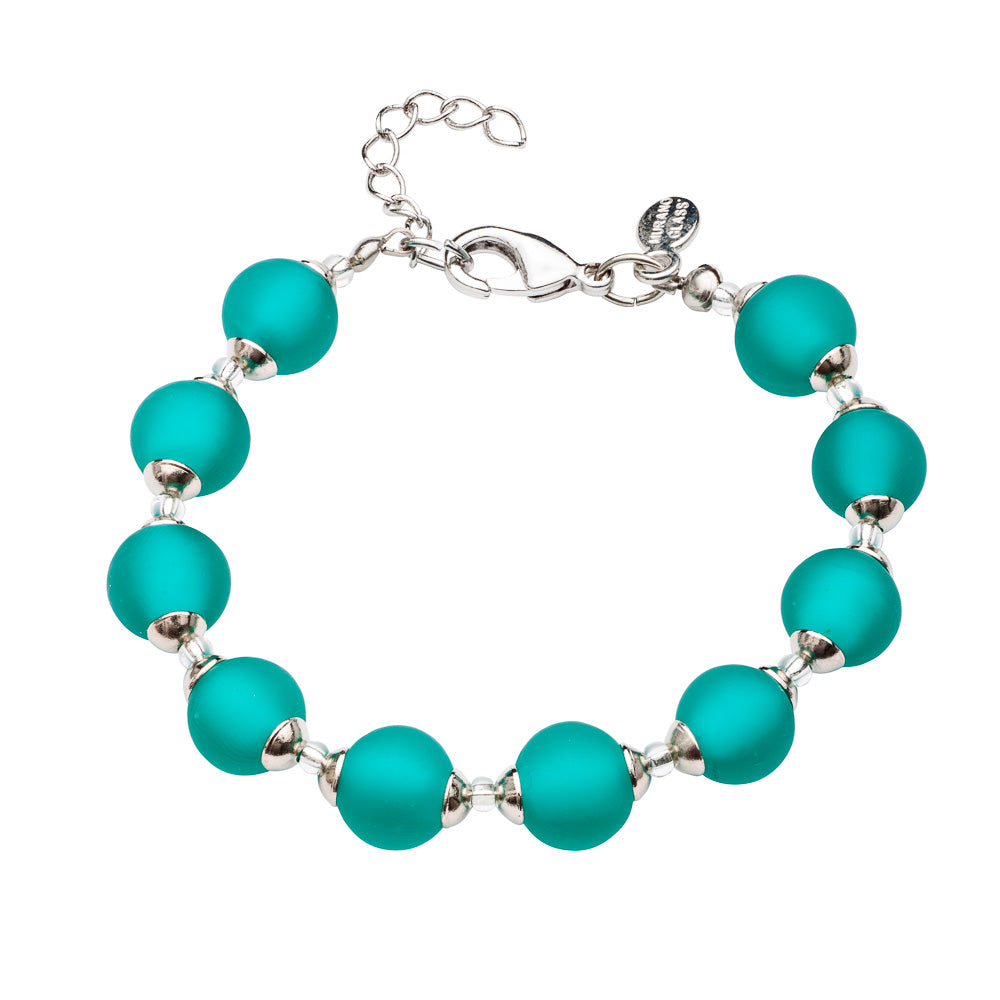 Frosted Emerald Green Murano Bracelet