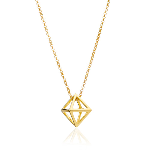 Gold Square Geometric Pendant