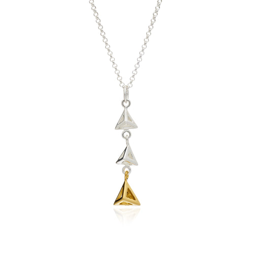 Geometric Triangle Triple Pendant