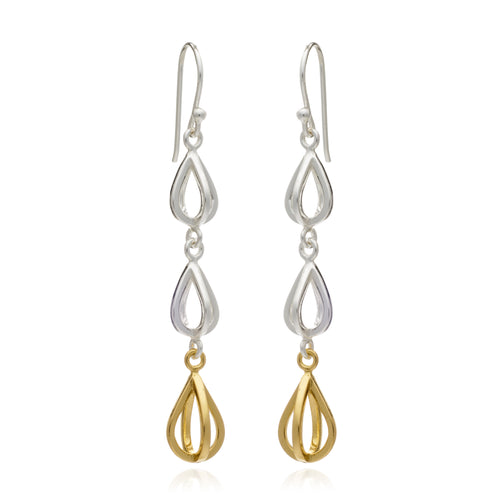 Geometric Triple Drop Tear Drop Earring