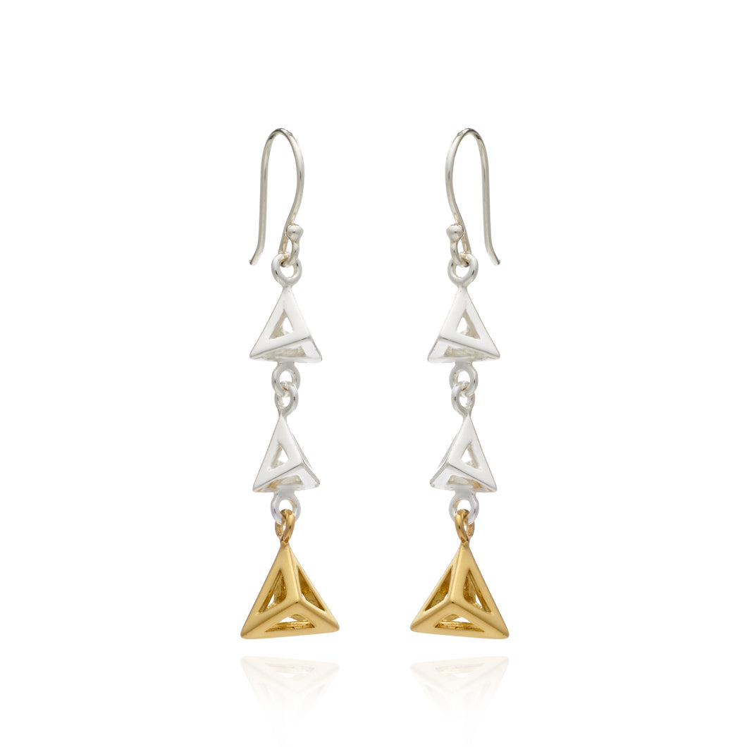 Geometric Triangle Triple Drop Earring