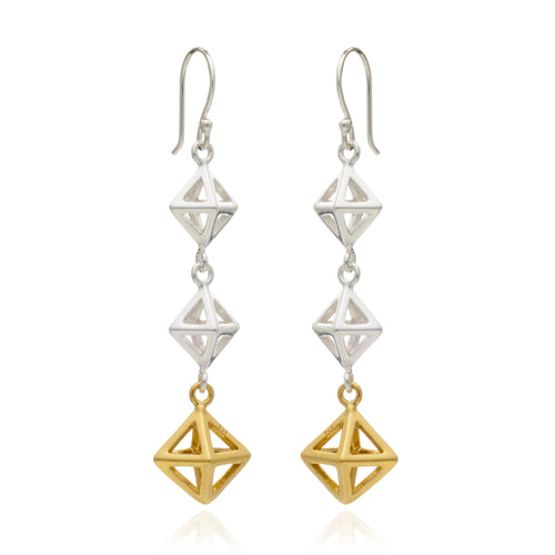 Geometric Square Triple Drop Earring