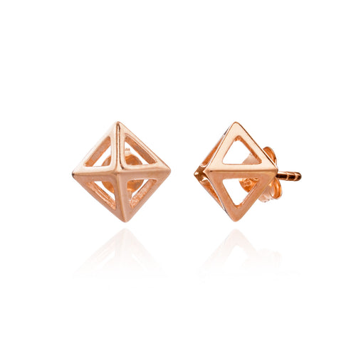 Rose Gold Geometric Square Stud Earring.