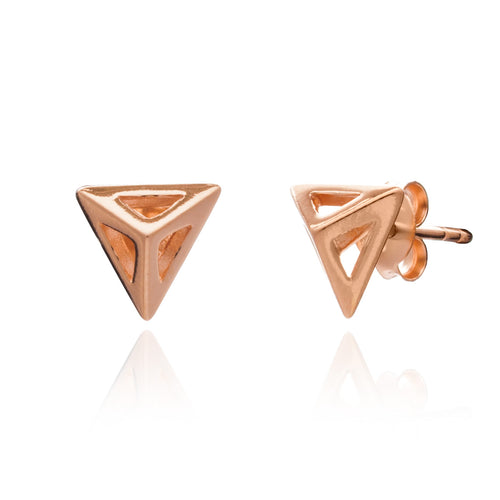Rose Gold Triangle Geometric Stud Earring