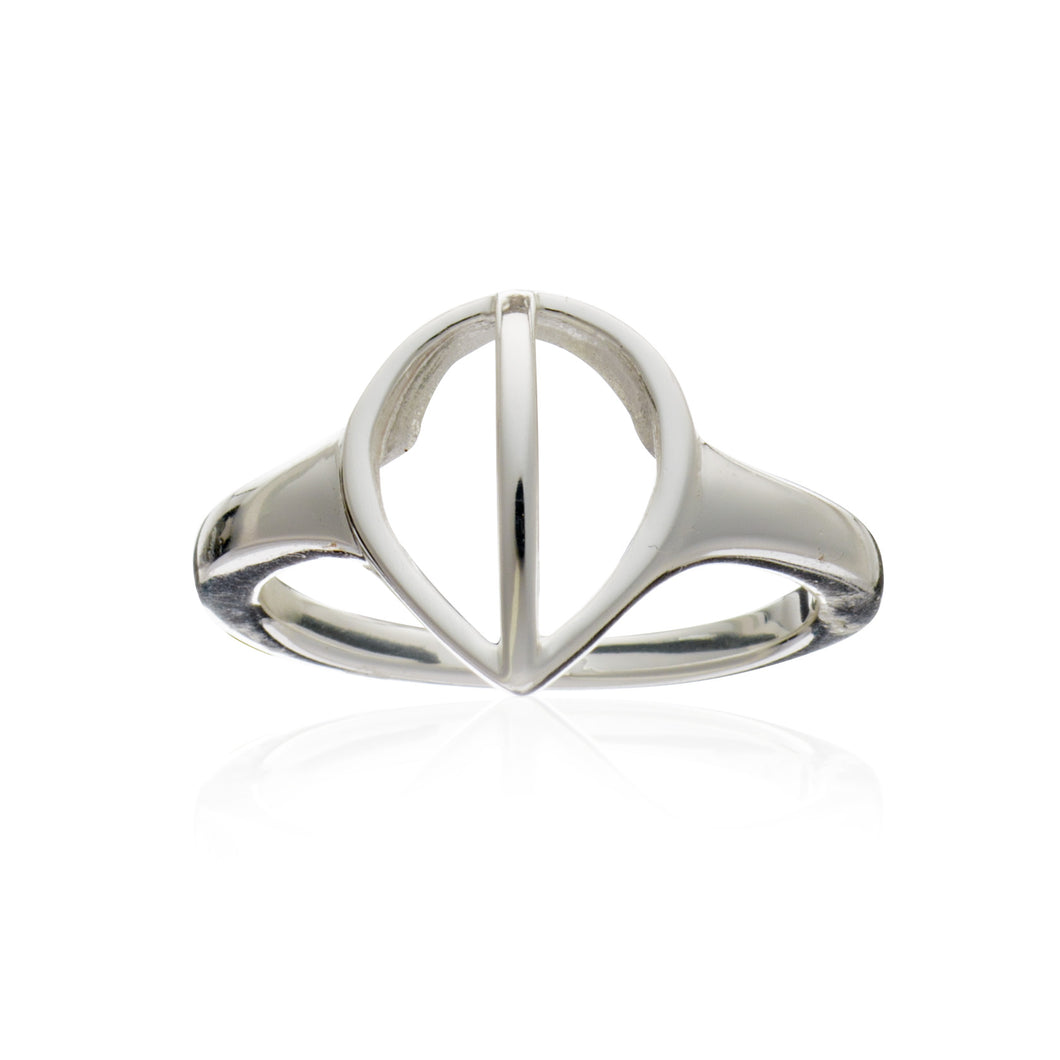 Geometric Tear Drop Ring