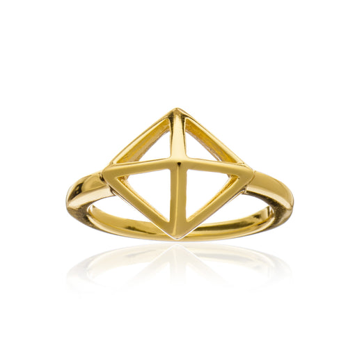 Geometric Square Gold Ring