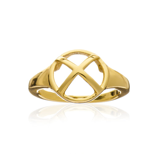 Gold Geometric Circle Ring