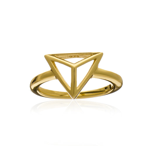 Gold Geometric Triangle Ring