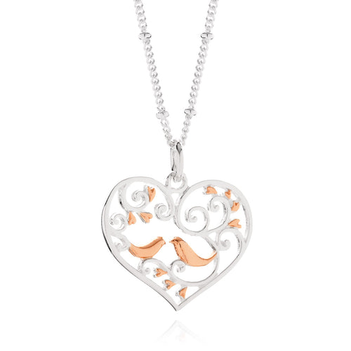 Rose Gold Love Birds Pendant