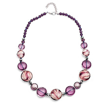 Plum Candy Cane Murano Glass Necklace