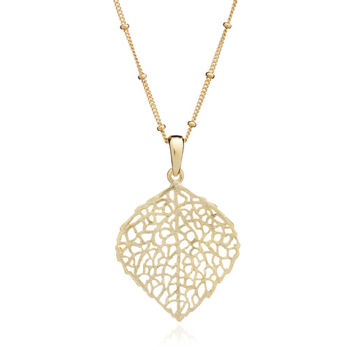 Yellow Gold Skeleton Leaf Pendant