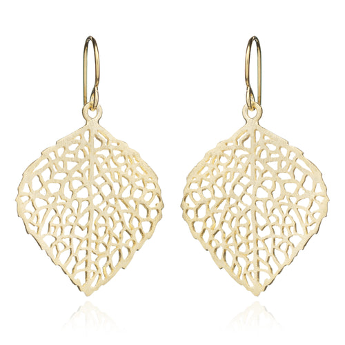 Yellow Gold Skeleton Leaf Earrings