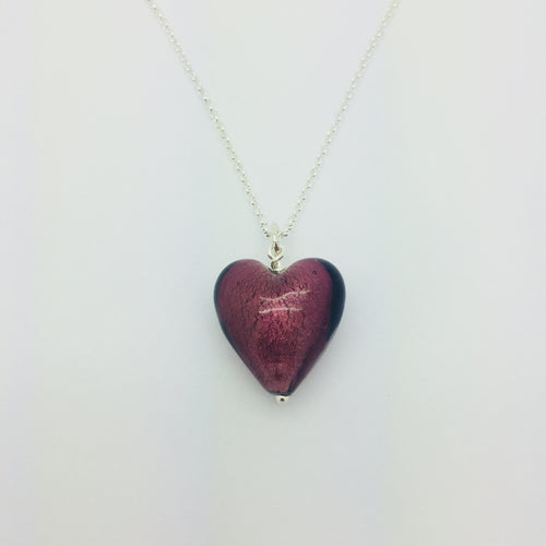 Plum Murano Glass Heart Pendant