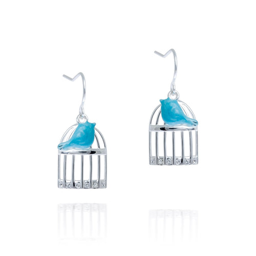Blue Bird and Cage Earrings