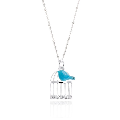 Blue Bird and Cage Pendant