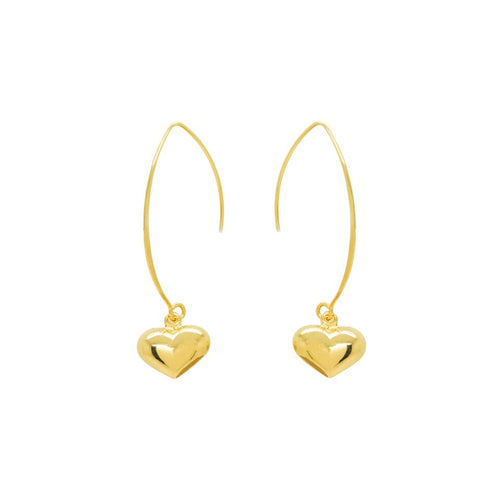 Gold Heart Loop Earrings