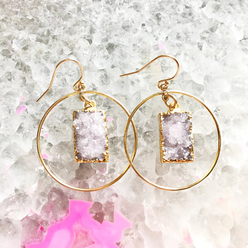 Druzy Hoop Earrings
