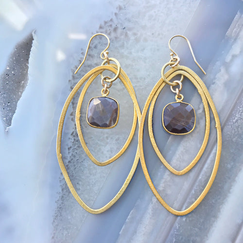 Maela Oval Bezel Earrings