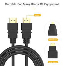 1.5M 3 in 1 HDMI To Mini/Micro HDMI Adapter Cable For HDTV Projector Nokia N8 /For PS4/PC/TV /Mini HDMI Digital Camera/Tablet - 4D's T&D Inc