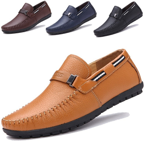Big Size 38~45 High Quality Genuine Leather Men Shoes Soft Moccasins Loafers Fashion Brand Men Flats Comfy Driving Shoes -4DS-172MMS - 4D's T&D Inc