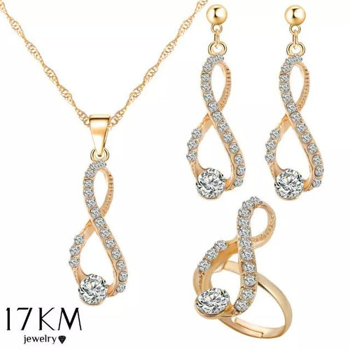 Elegant Design Wedding Infinity Love Crystal Rhinestone Necklace Earring Ring Sets Women's European Jewelry Classics Luxury Gold https://4ds-t-d-inc.myshopify.com