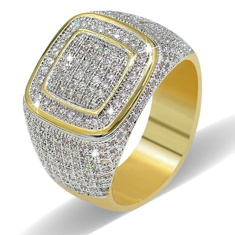 1 Pc Diamond Gold Plated Ring Gold Ring Diamond Ring Men Ring Hip Hop Gangster Jewelry 4 Sizes - 4D's T&D Inc