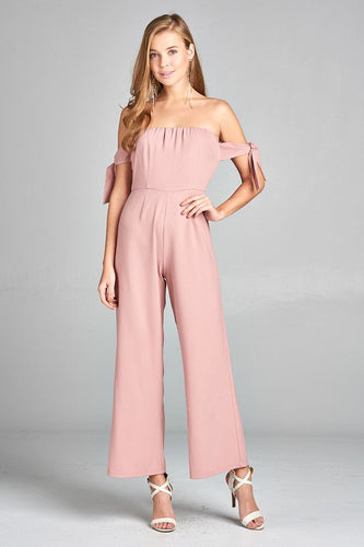 Ladies fashion tube line w/self bow tie sleeve woven jumpsuit - 4D's T&D Inc