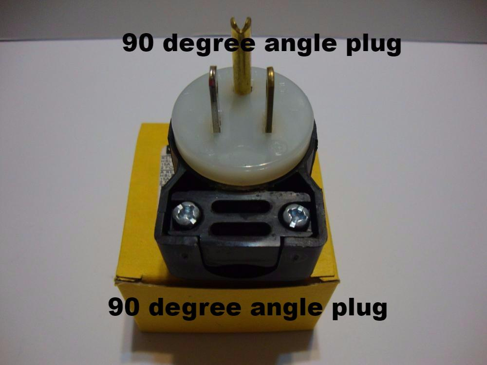 Angular POWER PLUG with straight blade, NEMA 5-15P, 15Amps.  Part # 4DS5-15P/90Ag. - $16.99 - 4D's T&D Inc