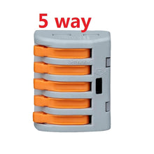 2 Pack Deal Reusable Spring Lever Terminal Block Connector 2/ 3/ 5 Way - 5 pcs/set Electric Cable Connector Wire - 4D's T&D Inc