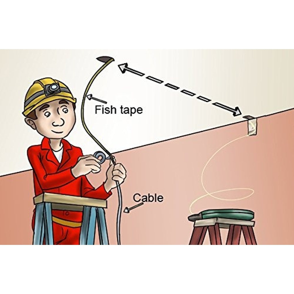 Fish Tape Reel 25 Feet Impact Case For Electricians Pull Wiring Communication Wire Cable Line