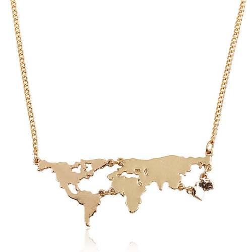 Neck Chain World Map Fashion Plated Pendant - https://4ds-t-d-inc.myshopify.com
