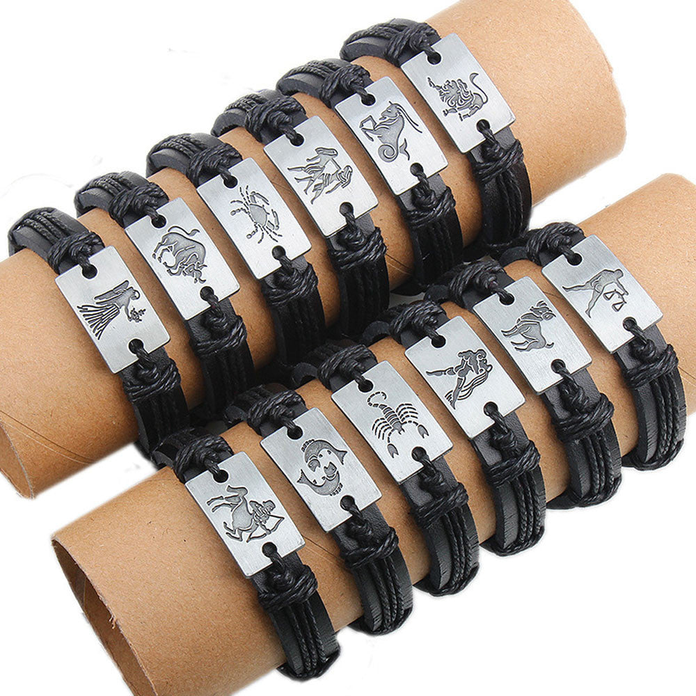 12x/lot Adjustable Leather Bracelets Round Bangle Charm Mens Cuff Jewelry - 4D's T&D Inc
