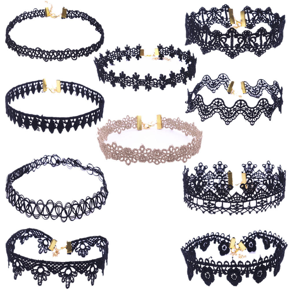 10 Pieces Women Choker Necklace Set Stretch Velvet Classic Gothic Tattoo Lace Choker - 4D's T&D Inc