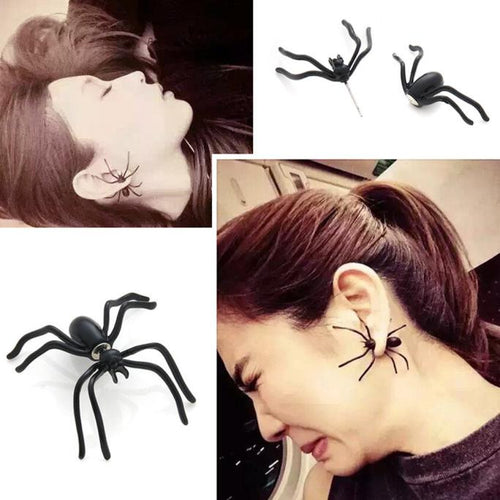 Fashion Black Spider Punk Unisex Funny Stud Earring ear rings - 4D'S T&D Inc