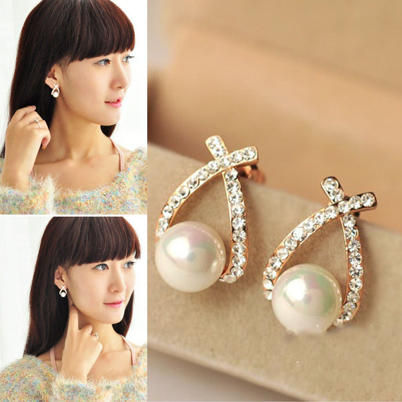 1 Pair Women Rhinestone Ear Stud Earrings Elegant Lady Fashion Crystal - 4D's T&D Inc