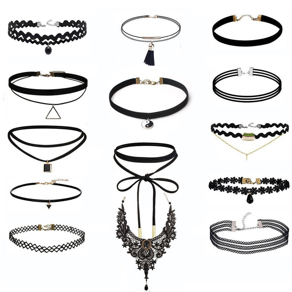 14 Pieces Choker Necklace Set Stretch Velvet Classic Gothic Tattoo Lace Choker - 4D's T&D Inc